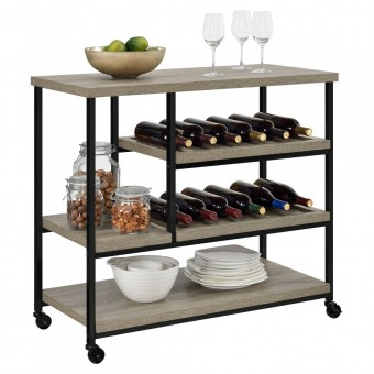 Drinks Trolley Grey Oak Elmwood Multi-Purpose Rolling Cart 5285096PCOM by Dorel