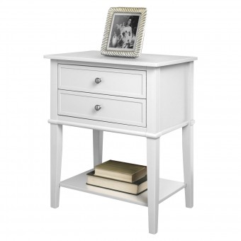 Accent Table White Franklin 2 Drawer Lamp Table 5062096PCOMUK by Dorel