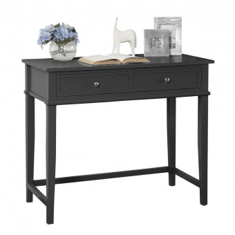 Black Writing Desk Franklin 2 Drawer Console Table 7919872COM by Dorel
