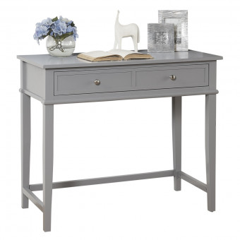 Grey Writing Desk Franklin 2 Drawer Console Table 7919815COM by Dorel