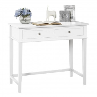 White Writing Desk Franklin 2 Drawer Console Table 7919013COM by Dorel