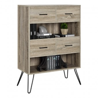 Bookcase Grey Oak Landon Storage Cabinet 9654096PCOM by Dorel