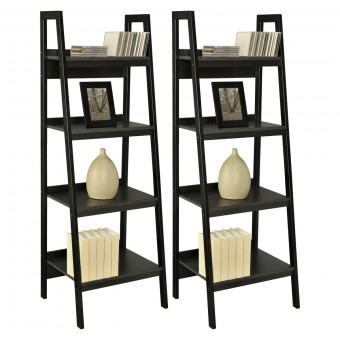Bookcase Black Pair of Lawrence Ladder Style 4 Shelf Bookcases 9482096UK by Dorel