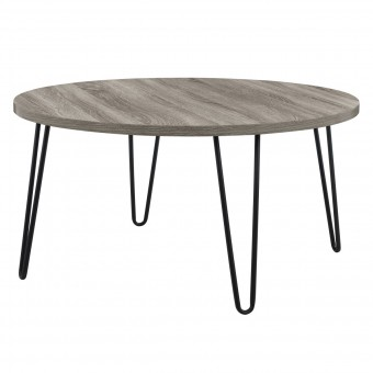 Round Coffee Table Grey Oak Owen Retro Table 3615307COMUK by Dorel