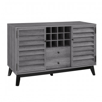 Bar Cabinet Wine Storage Grey Oak Vaughn 7904196COM by Dorel