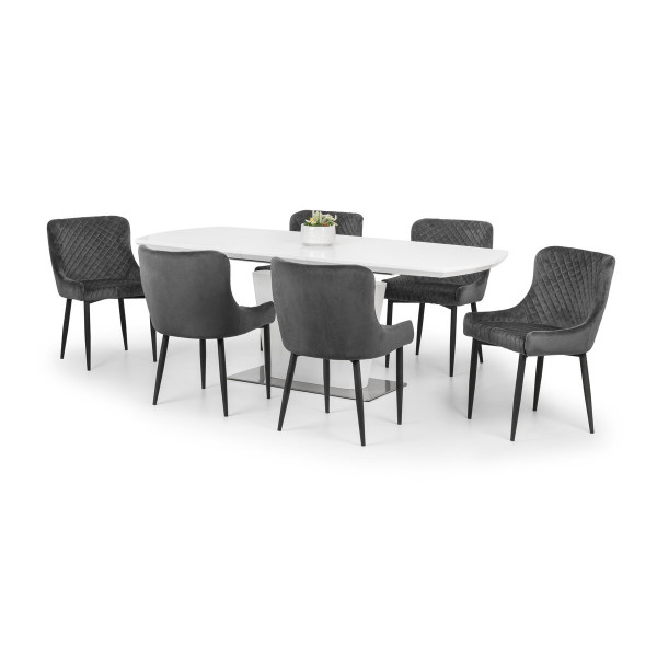 Dining Set Como Dining Table and 6 Luxe Grey Dining Chairs COM106 By Julian Bowen