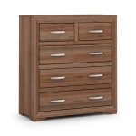 Chest of Drawers - Buckingham Walnut 5 Drawer Bedroom Chest BUC002