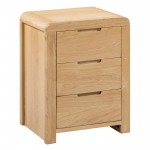 Bedside Cabinet - Curve Oak 3 Drawer Bedside Chest CUR201