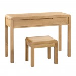 Dressing Tables - Curve Oak Dressing Table and Stool CUR206