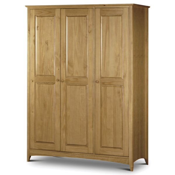3 Door Wardrobe Kendal Pine Triple Wardrobe with Fitted Interior KEN006