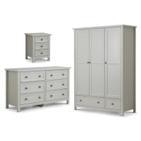 Julian Bowen Maine Grey 3 Piece Furniture Package - 3 Door Wardrobe, 6 Drawer Chest and Bedside Cabinet MAI508