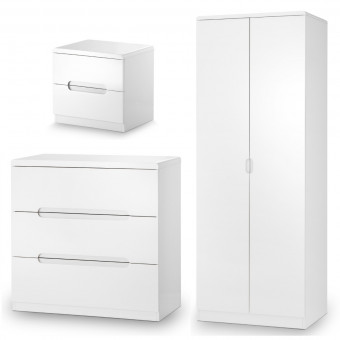 Julian Bowen Manhattan 3 Piece Furniture Set - 2 Door Wardrobe, 3 Drawer Chest and Bedside Cabinet MAN403