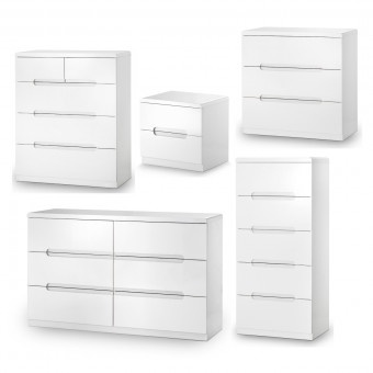 Julian Bowen Manhattan 5 Piece Furniture Set - Bedside Cabinet, 6 Drawer, 5 Drawer 3+2 Drawer and 3 Drawer Chest MAN413