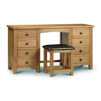 Dressing Tables - Marlborough Oak Twin Pedestal Dressing Table MAR206