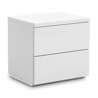 Bedside Cabinet 2 Drawer Monaco White MON801 by Julian Bowen