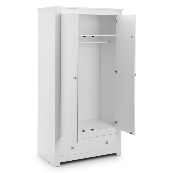 2 Door Wardrobe White Radley Double Wardrobe with Drawer RAD004 by Julian Bowen