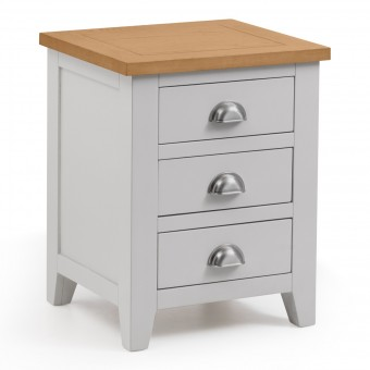 Bedside Cabinet - Richmond Grey and Oak 3 Drawer Bedside Chest RIC301
