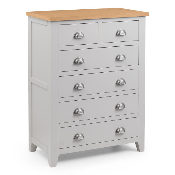 Chest of Drawers - Richmond Grey and Oak 6 Drawer Bedroom Chest RIC302