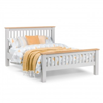 Double Beds - Richmond Grey and Oak Double Bed RIC401 - 135cm, 4ft6