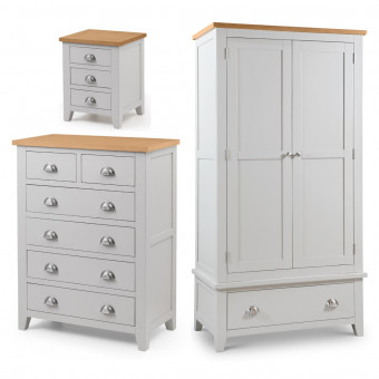 Julian Bowen Richmond 3 Piece Furniture Package - 2 Door Wardrobe, 4+2 Drawer Chest and Bedside Cabinet RIC501