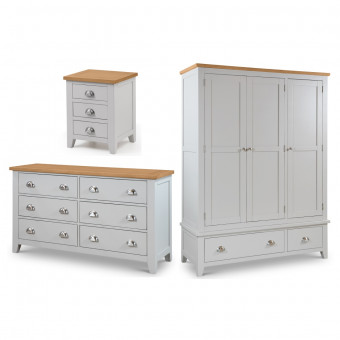 Julian Bowen Richmond 3 Piece Furniture Package - 3 Door Wardrobe, 4+2 Drawer Chest and Bedside Cabinet RIC505