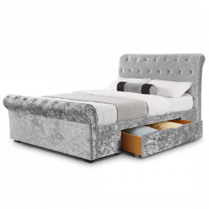 King Bed - Verona Storage Bed 150cm (5ft) in Silver Crushed Velvet VER1..