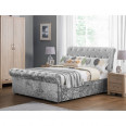 King Bed - Verona Storage Bed 150cm (5ft) in Silver Crushed Velvet VER102
