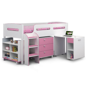Childrens Beds - Julian Bowen Kimbo Pink Cabin Bed KIM001..