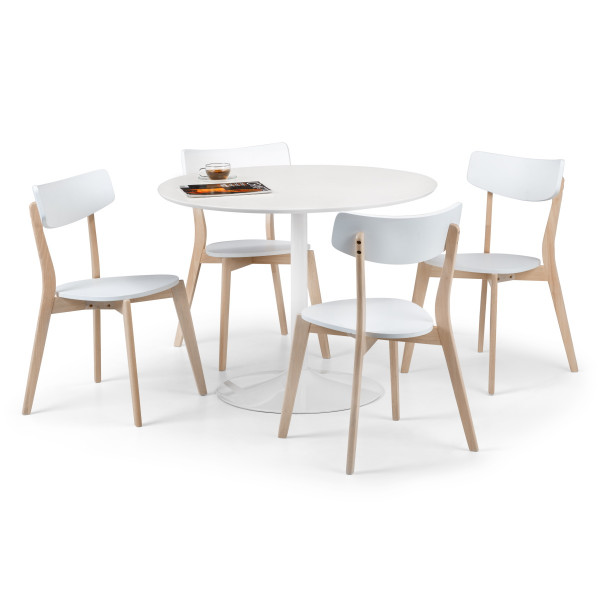 Dining Set Blanco White Dining Table and 4 Casa Dining Chairs BLA203 by Julian Bowen