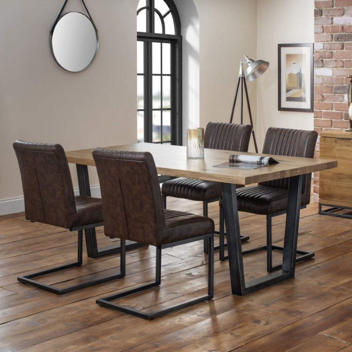 08741debd0 Dining Set - Julian Bowen Brooklyn Oak Dining Table and 4 Dining Chairs  BRO101