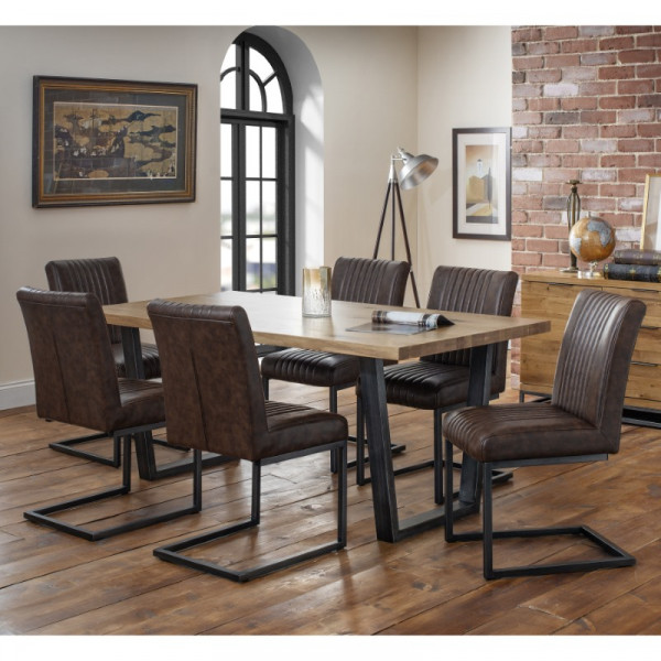Dining Set - Brooklyn Oak Dining Table and 6 Brown Faux Leather Chairs BRO102