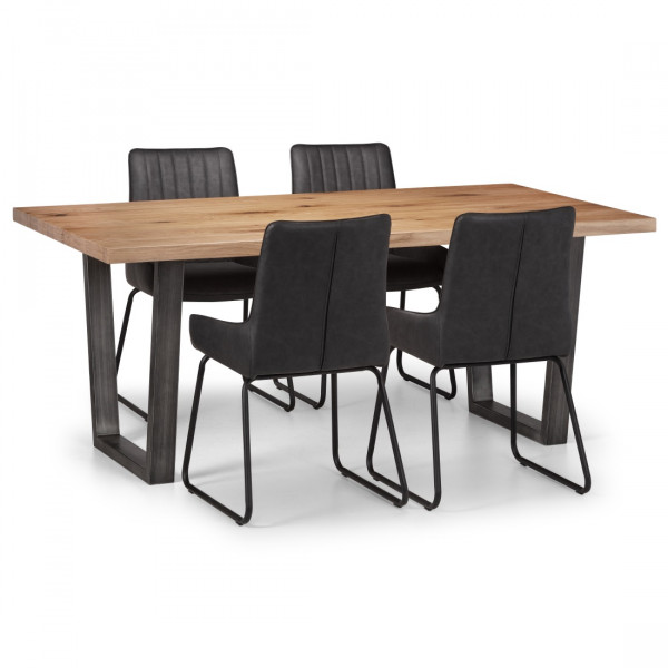 Dining Set - Brooklyn Oak Dining Table and 4 Black Faux Leather Chairs BRO103
