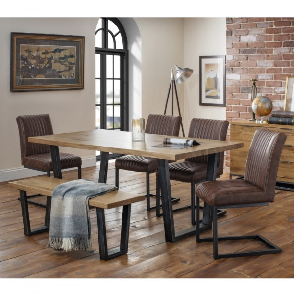 Dining Set - Brooklyn Oak Dining Table, 4 Brown Faux Leather Chairs and Dining Bench BRO105