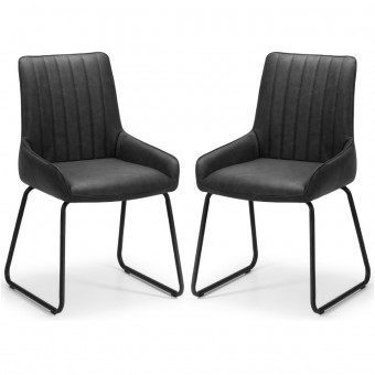 Dining Chair - Pair of Soho Black Faux Leather Dining Chairs SOH102
