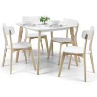 Dining Set - Casa Dining Table and 4 Dining Chairs in White and Oak CAS901