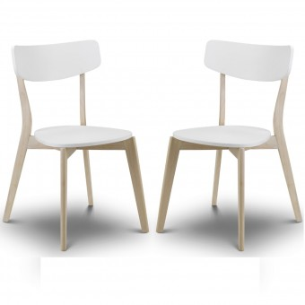 Dining Chair - Pair of Casa White and Limed Oak Dining Chairs CAS102