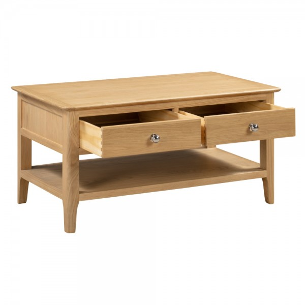 Oak Coffee Table with Drawers Cotswold COT109 by Julian Bowen