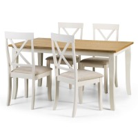 Dining Set - Davenport Dining Table and 4 Dining Chairs in Ivory and Oak DAV004