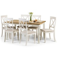 Dining Set - Davenport Dining Table and 6 Dining Chairs in Ivory and Oak DAV005