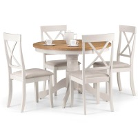 Dining Set - Davenport Round Dining Table, 4 Dining Chairs in Ivory and Oak DAV010