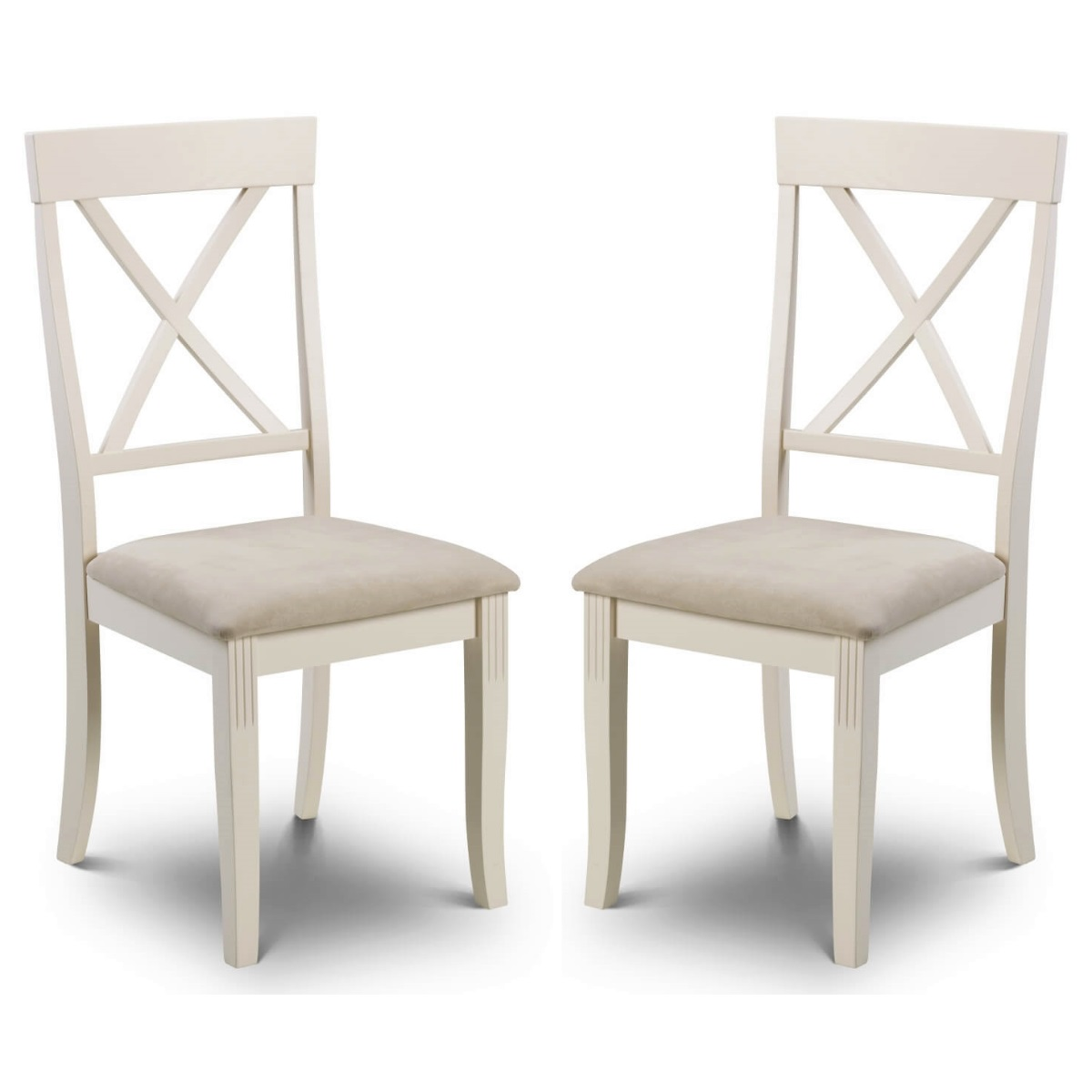 Pair Of Julian Bowen Davenport White Dining Chairs Dav002