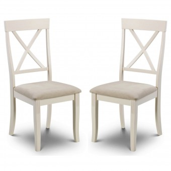 Dining Chair - Pair of Julian Bowen Davenport White Dining Chairs DAV002
