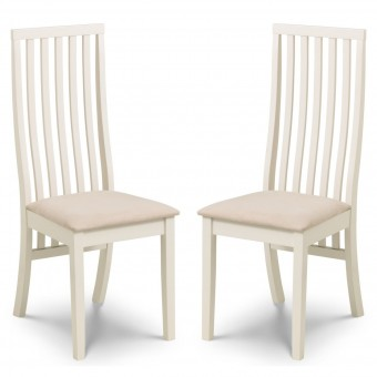 Dining Chair - Pair of Julian Bowen Vermont Ivory Dining Chairs VER302