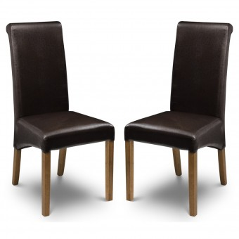 Dining Chair - Pair of Cuba Brown Faux Leather Dining Chairs CUB001