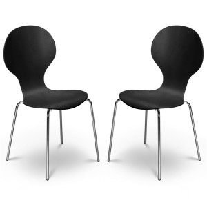 Dining Chair Pair of Keeler Black Dining Chairs KEE010 by Julian Bowen..