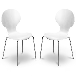 Dining Chair Pair of Keeler White Dining Chairs KEE013 by Julian Bowen..