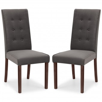 Dining Chair - Pair of Julian Bowen Madrid Grey Velvet Dining Chairs MAD102