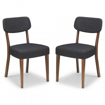 Pair of Walnut Dining Chairs Farringdon FAR003 by Julian Bowen