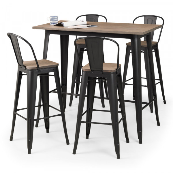 Bar Set Grafton Elm and Metal Table and 4x Barstools Set GRA502 by Julian Bowen