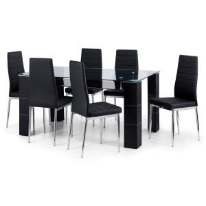 Dining Set - Greenwich Dining Table and 4 Dining Chairs in Black GRE003..